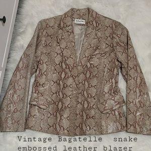 Vintage Bagatelle snake leather blazer jacket s